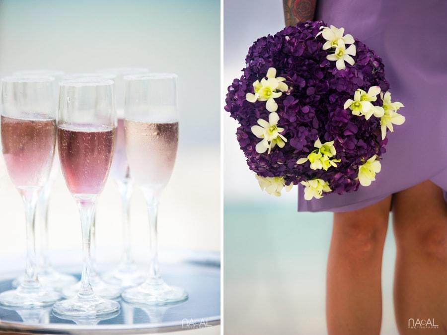 beach wedding details purple bouquet cocktail