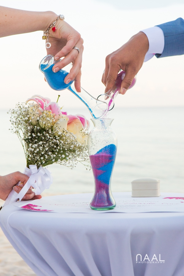 sandy ceremony at Blue Venado beach Club by Naal Wedding Photography