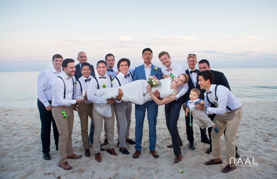 bride, groom and groomen at Blue Venado beach Club by Naal Wedding Photography