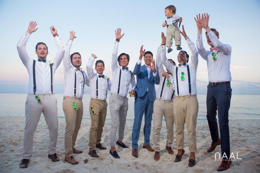 groom and groomen at Blue Venado beach Club by Naal Wedding Photography
