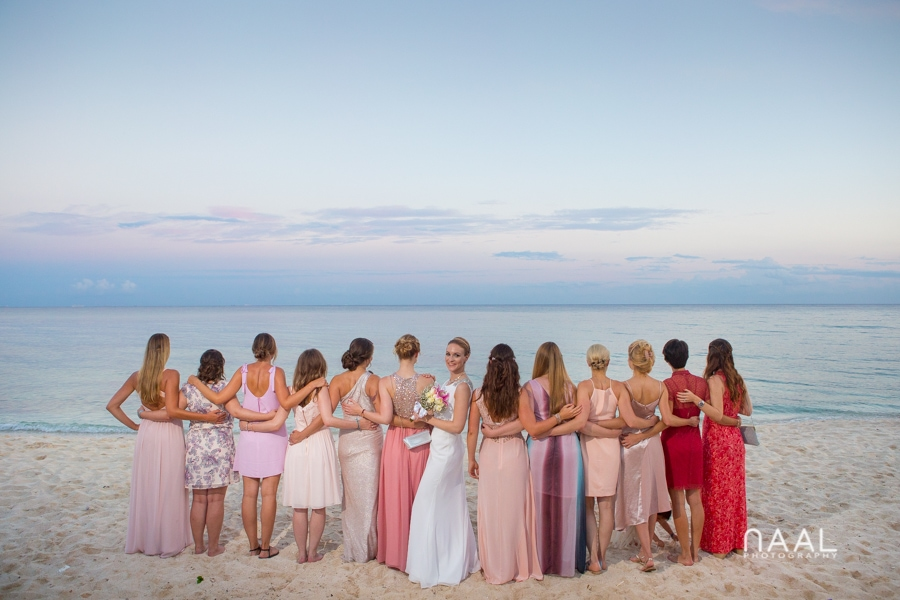 bride and her bridemaids at Blue Venado beach Club by Naal Wedding Photography