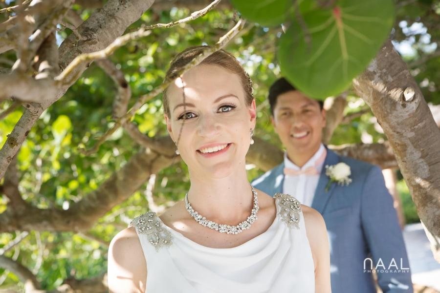 Bride and groom at Blue Venado beach Club by Naal Wedding Photography