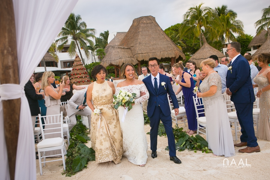 Bride walking to the aisle. Belmond Maroma by Naal Wedding Photography