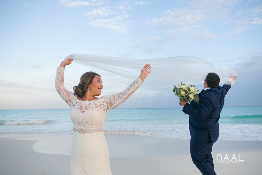 Bride at the beach. Belmond Maroma by Naal Wedding Photography