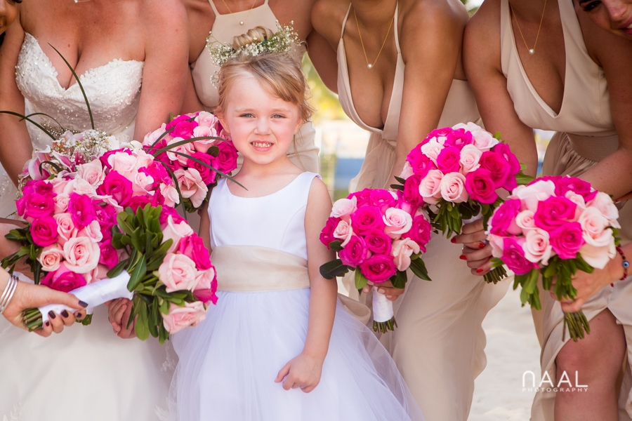 flower girl at riu palace mexico destination wedding by Naal Wedding Photography