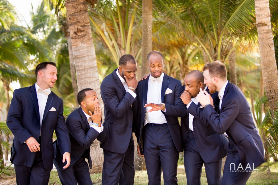 Groomens at riu palace mexico destination wedding by Naal Wedding Photography