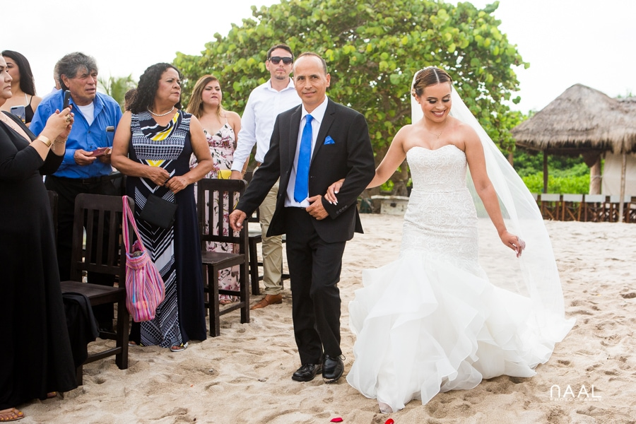Blue Venado Beach Club bride walking the aisle Naal Wedding Photography